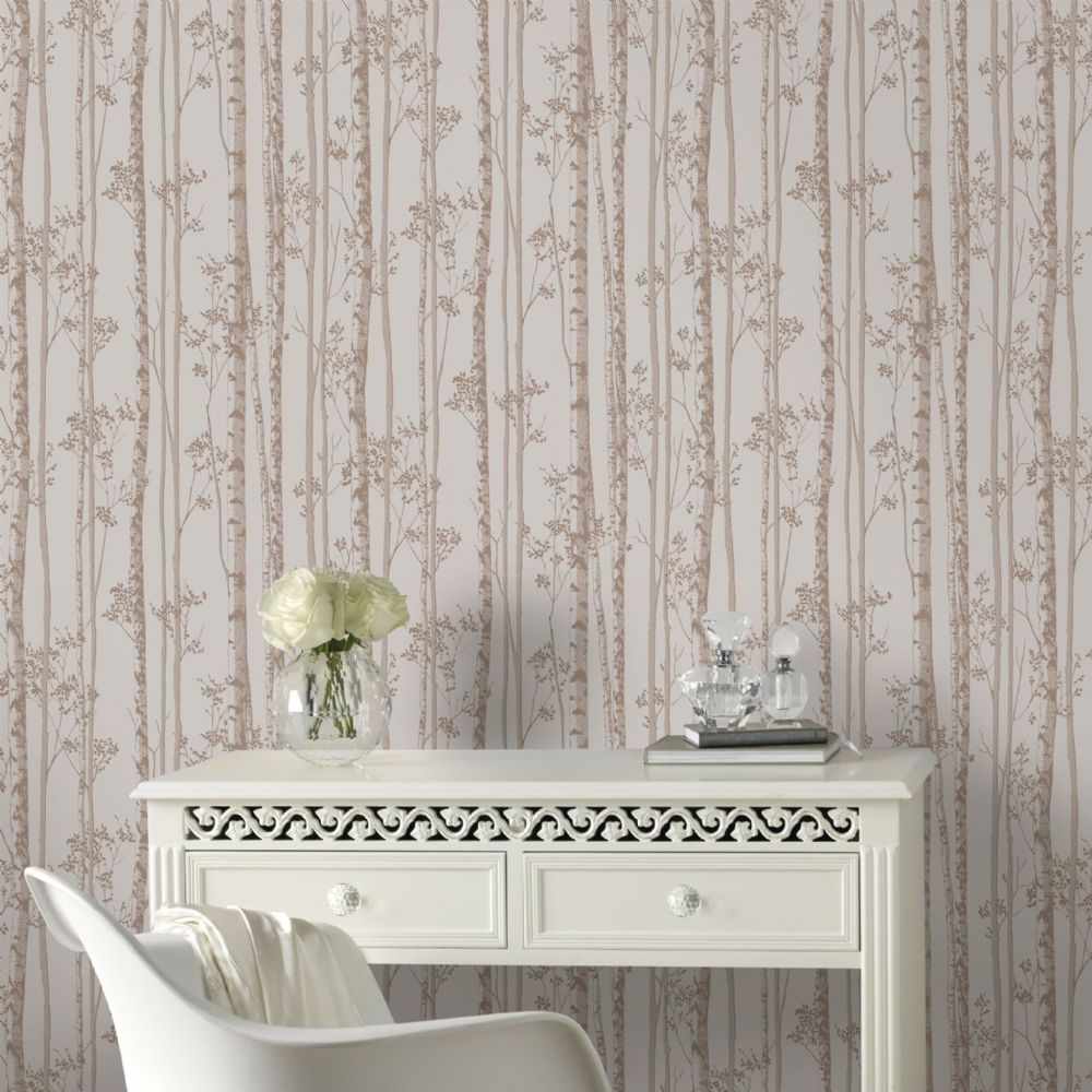 Graham and Brown Linden Pebble/Rose Gold 100523 Wallpaper